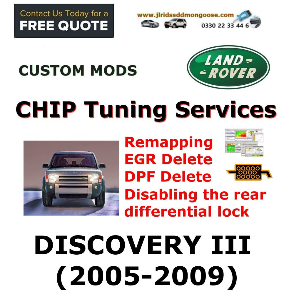 DISCOVERY III 2005-2009 Factory Tuning Firmware Update EGR DPF Shutdown Disabling the rear differential lock Programming service through remote access