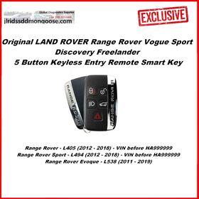 Original LAND ROVER Range Rover Vogue Sport Discovery Freelander 5 Button Keyless Entry Remote Smart Key (2011-2019), image