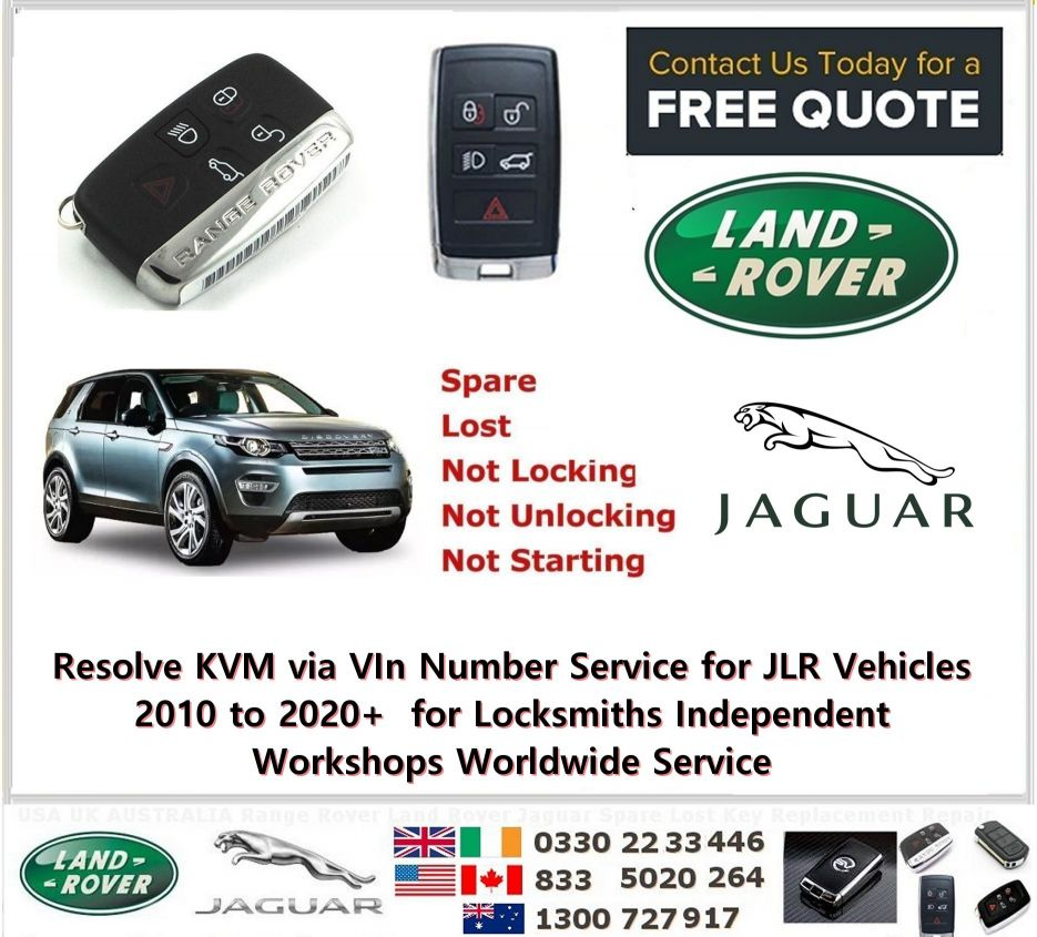 Resolve KVM via VIn Number Service for JLR Vehicles 2010 to 2020+  for Locksmiths Independent Workshops Worldwide Service   Have you a JLR Vehicle with smart key problems and you wish to resolve these and obtain advice on how to be able to program a new key or keys in a same way without damaging the Keyless System then this is the service for you   Have Advanced Knowledge supplied to you via the Car VIN so you can be prepared if going far to the job so you dont have visit agian to complete the 2nd time the job and be able to complete the job on the first Visit .  If you already have tools from us for SDD and Pathfinder and want a risk free job then use this service to get the head up on to complete the job and how much to quote.  We will let you know if can do via OBD or need to replace modules and the part numbers of the key and KVM and sometimes BCM if is required to be changed.